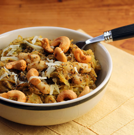 Spaghetti squash with cashew basil pesto and white beans (#glutenfree, #vegetarian).