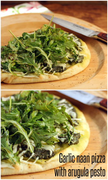Quick and easy garlic naan pizza with arugula pesto, and a salad on top! #pizza