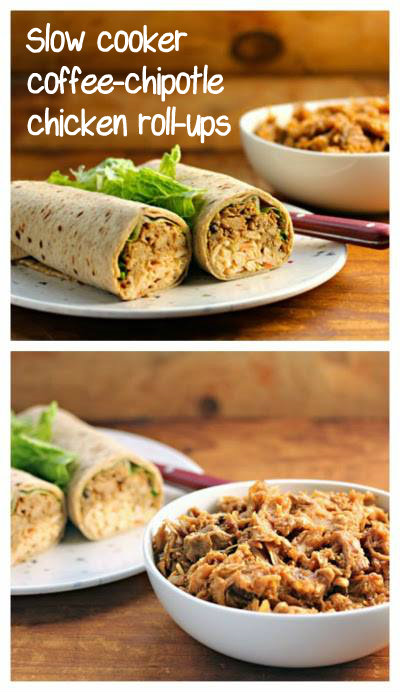 Slow cooker coffee-chipotle chicken roll-ups, with Rhode Island's own coffee syrup. #slowcooker #crockpot