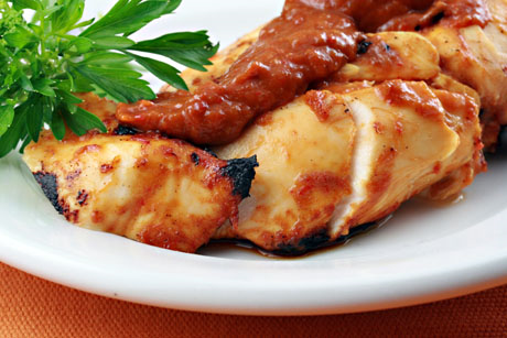 Chicken with mango barbecue sauce. #grilling #chicken
