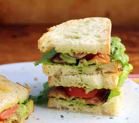 The ultimate bacon, lettuce and tomato sandwich, with garlicky Green Goddess dressing.