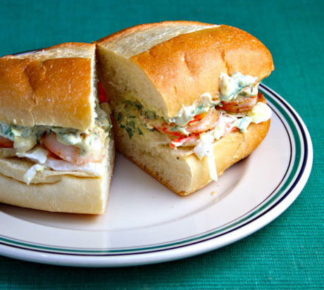 A lighter spin on a New Orleans classic sandwich: roasted shrimp po' boy.