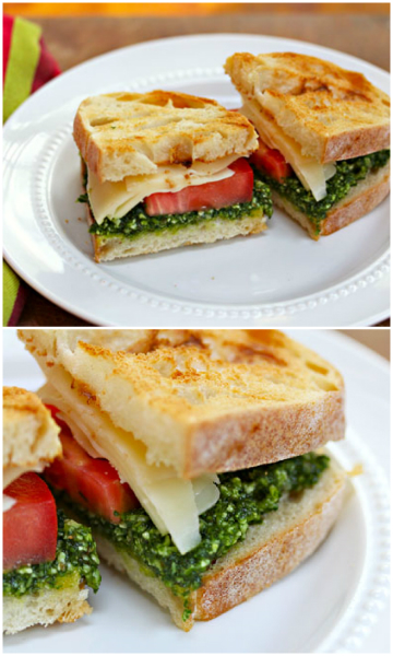 Make your own kale pesto, or use your favorite pesto, for this sandwich with bold flavors. #vegetarian
