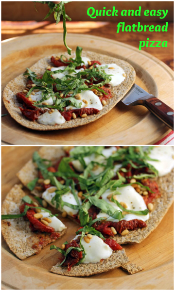 Perfect for worknight supper or weekend lunch, a quick and easy flatbread pizza made with fresh cheese, slow-roasted tomatoes, and basil from the garden. #vegetarian