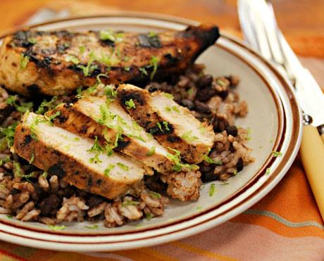 Grilled honey-lime chicken, perfect served with black beans and rice. #grilling