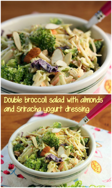Double broccoli salad with almonds and spicy Sriracha yogurt dressing.