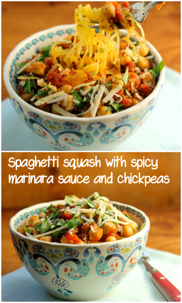 Spaghetti squash with spicy marinara sauce and chickpeas #vegetarian #glutenfree