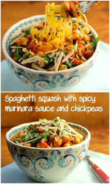 Spaghetti squash with spicy marinara sauce and chickpeas #vegetarian #glutenfree