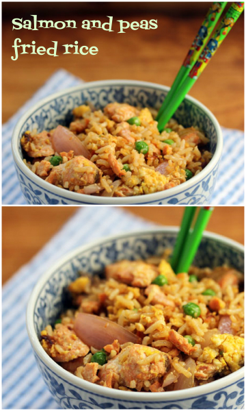 Salmon and peas fried rice, a fun new tradition for July Fourth.