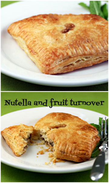 Nutella and fruit turnovers: use any fruit, and puff pastry.