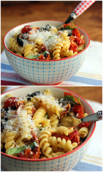 Make slow-roasted tomatoes ahead and freeze for this easy pasta dish.