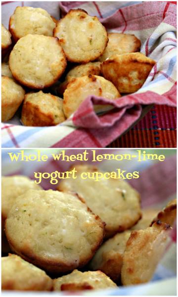 Bite-size whole wheat lemon-lime cupcakes.