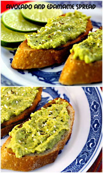 Avocado and edamame spread on toast #vegan #appetizer