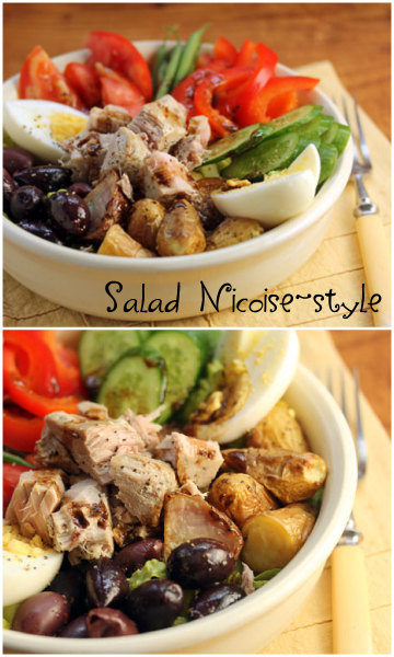 Salad Nicoise-style, with fresh tuna.