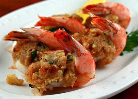 Baked stuffed shrimp, a New England classic.