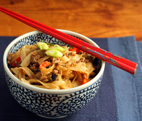 Spicy rice noodle stir fry (The Perfect Pantry).