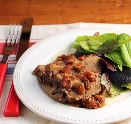 Mediterranean beef brisket, made fast (in the pressure cooker) or slow.