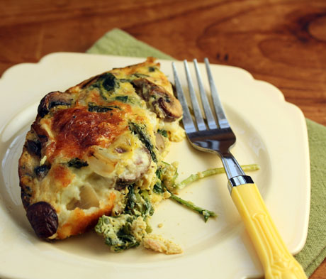 Breakfast egg and cheese casserole with kale and bacon. #gluten-free