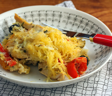 Chicken and spaghetti squash casserole #glutenfree (The Perfect Pantry).