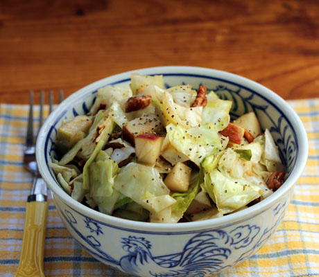 Roasted cabbage salad with apples and pecans.