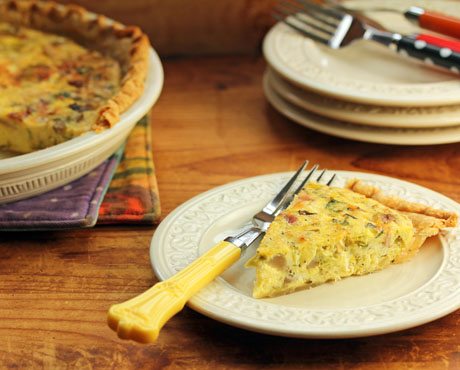 Brussels sprouts and bacon quiche, for brunch or supper. #quiche #bacon