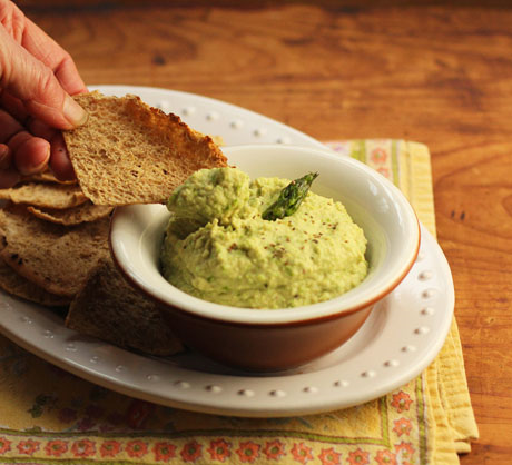 Roasted asparagus hummus dip, from The Perfect Pantry. #asparagus #hummus