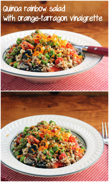 Quinoa rainbow salad with asparagus, feta, and orange-tarragon vinaigrette. #vegetarian #glutenfree