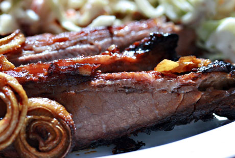 Peggy's barbecue brisket, made in the oven.
