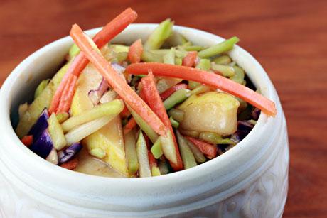 Make this Asian broccoli slaw vegan, or add shrimp or chicken.