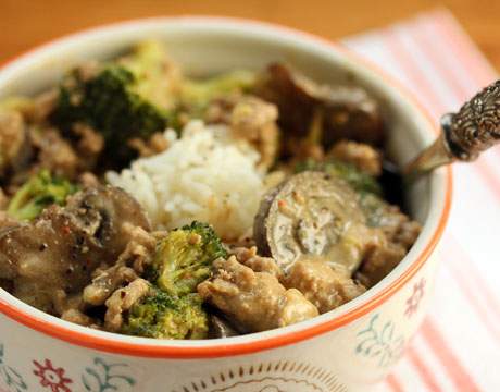 Coconut peanut rice bowl, with turkey, broccoli and mushrooms (or your favorite veggies). #glutenfree