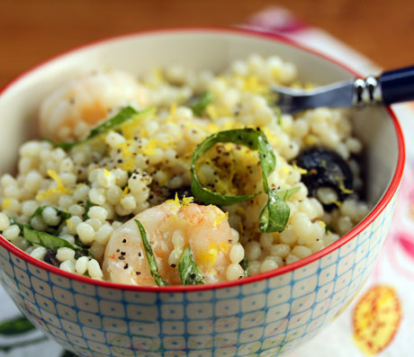 Shrimp, feta, lemon and basil salad over Israeli couscous. Tastes like Greece! #salad #couscous #shrimp #recipe