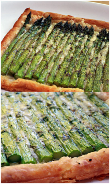So easy, and so impressive: asparagus and cheese tart, made with store-bought puff pastry..