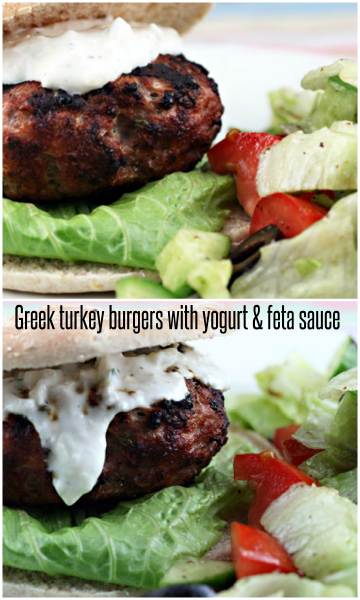 Greek turkey burgers with yogurt and feta sauce: get your grill on! #turkey #grilling