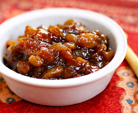 Rhubarb apricot chutney, sweet and sour.