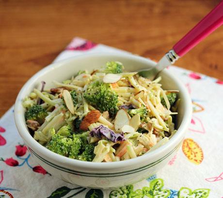 Double broccoli salad with almonds and Sriracha yogurt dressing.