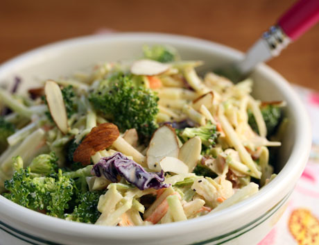Double broccoli salad recipe with Sriracha yogurt dressing.