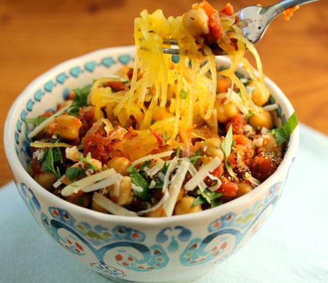 Spaghetti squash with spicy marinara sauce and chickpeas.