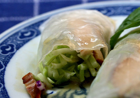 Grilled chicken and broccoli slaw wraps recipe with a miso sauce.