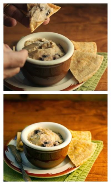 Slow cooker white bean, garlic and olive dip or sandwich spread recipe.