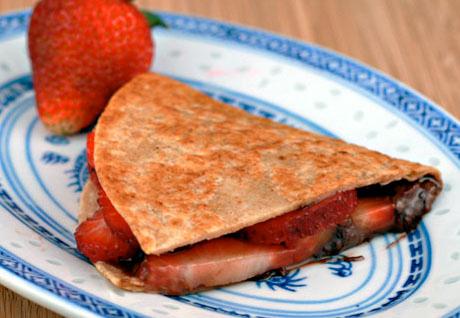 Nutellas strawberry quesadillas. For dessert!