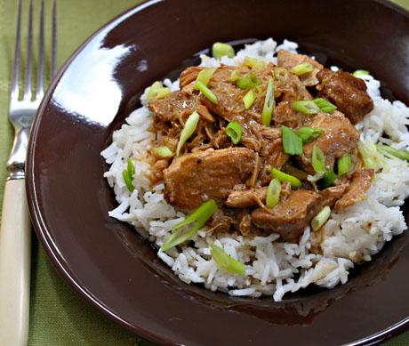 Filipino chicken adobo, made in the crockpot.