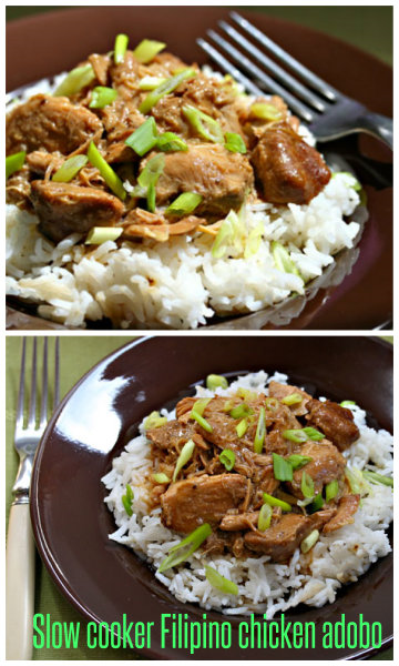 Filipino chicken adobo, easy in the crockpot.