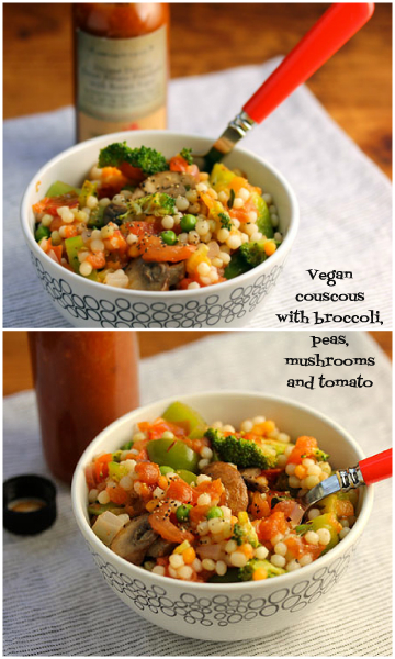 Vegan couscous with broccoli, peas, mushrooms and chunks of tomato.