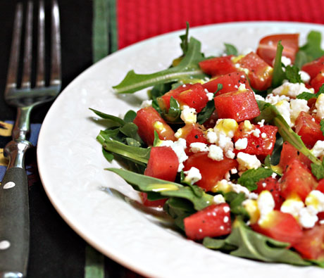 Watermelon, feta and arugula salad, so refreshing for summer.
