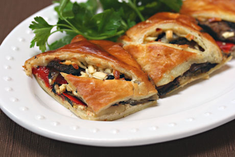 Grilled vegetable tart made easy with store-bought puff pastry.
