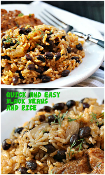 Quick and easy black beans and rice, made with sofrito.