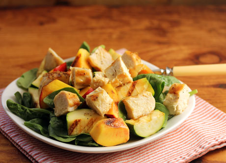 Grilled chicken, zucchini and nectarine spinach salad, tossed with honey-lime dressing. #glutenfree