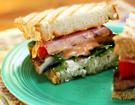 Grilled portobello mushrooms take the place of burgers in this sandwich.