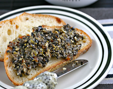 Olive tapenade, an easy make-ahead appetizer.