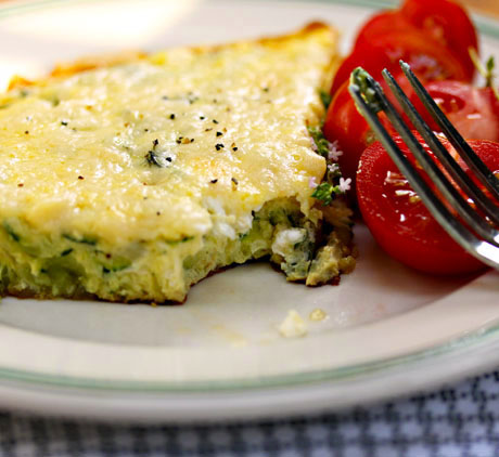 Zucchini, goat cheese and basil frittata. #vegetarian #glutenfree